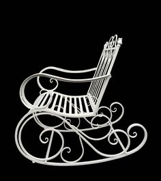 New Vintage Shabby Chic Rocking Arm Chair With Metal high Seat And Back Design Wrought Iron Decor, Wrought Iron Gates, Iron Furniture, Home Decor Furniture, Small Garden Chairs, Teak Rocking Chair, Iron Art, Relax, Metal Chairs