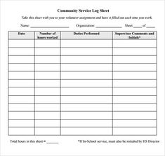 community service hours log sheet template