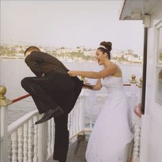 Getting cold feet? This groom is joking around with his bride attempting to jump off this yacht on his wedding day just for laughs. Boat Wedding, Yacht Wedding, Wedding Tags, Nautical Wedding, Wedding Groom, Wedding Ideas, Newport Beach, Beach Wallpaper, Cold Feet