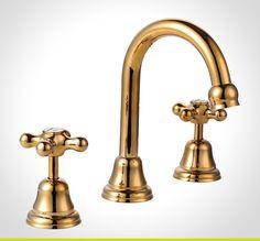 Maestro Gold Cross Handle Basin Set Bathroom Plumbing Mixer Taps