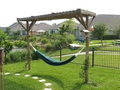 Homemade Hammock Stand - use the pergola to grow grape vines Backyard Hammock, Backyard Patio, Backyard Landscaping, Hammock Ideas, Eno Hammock, Hammocks, Hammock Posts, Outdoor Hammock, Landscaping Ideas