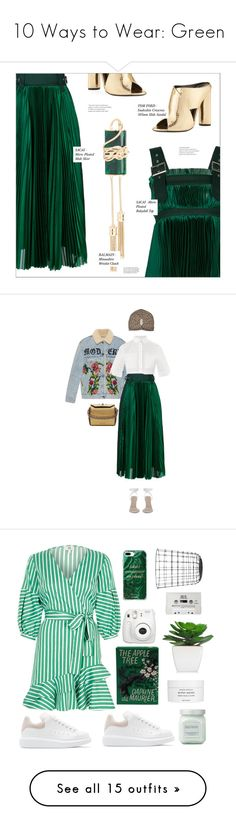 """""""10 Ways to Wear: Green"""" by polyvore-editorial ❤ liked on Polyvore featuring GREEN, stpatricksday, Sacai, Tom Ford, Balmain, Gucci, Alexander Wang, Alexander McQueen, skirts and green"""