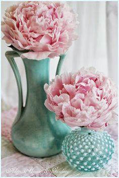 Vintage McCoy and hobnail vase with pink peonies.