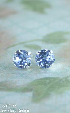 Stud earrings | crystal earrings|  blue crystal earrings | swarovski light…