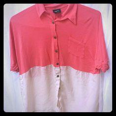 Shirt Silk,top pink and bottom beige,button down  Sexy shirt Rue 21 Tops