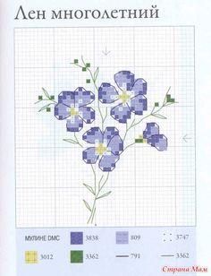 """Дизайн: Вероник Ажинер Источник: книга """"Садовые цветы, вышитые крестом"""" схема: примеры готовой работы:"""