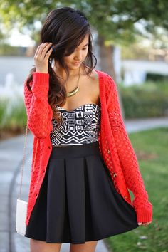 Perfect Summer Outfit White and Black Printed Top Red Cardigan and Skirt Combination