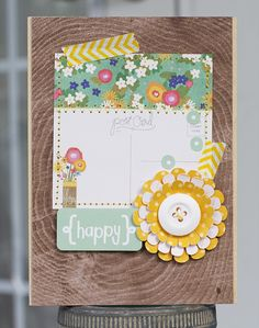 Paper Lulu: Pebbles Card Trio like the wood grain background, the flowers, and the washintape