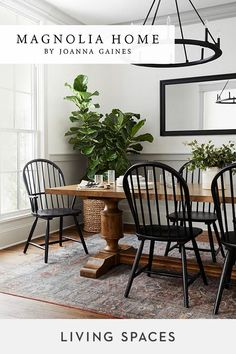 Magnolia Home by Joanna Gaines dining rooms. Refined rustic designs to bring together the perfect dining space. Magnolia Home by Joanna Gaines dining rooms. Refined rustic designs to bring together the perfect dining space. Dining Room Walls, Dining Room Design, Rustic Dining Rooms, Dining Room With Mirror, Farm House Dinning Room, Rug Under Dining Table, Black Dining Room Table, Black And White Dining Room, Black Dining Room Furniture