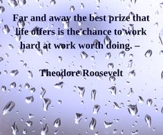 Far and away the best prize that life offers is the chance to work hard at work worth doing ~Theodore Roosevelt