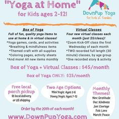 """""""Yoga at Home"""" – Down Pup Yoga Activity Box, Activity Sheets, Preschool Yoga, Yoga Games, Childrens Yoga, 5th Class, Thank You For Order, Virtual Class, Monthly Themes"""
