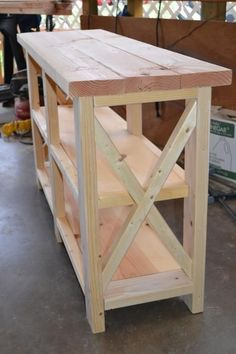 DIY Furniture: X-Console Table | Do It Yourself Home Projects from Ana White. #DIY #Furniture.