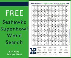 Boy Mama Teacher Mama: FREE Seahawks Superbowl Word Search