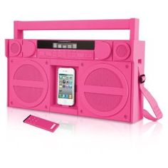 """Old Skool"" meets ""New Skool"" and I love it!  Pink Portable FM Stereo Boombox for iPhone/iPod by iHome"