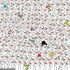 Last week, illustrator Gergely Dudás — who goes by the pen name Dudolf — posted this drawing to his Facebook page, challenging readers to spot a panda in an army of snowmen. Can you spot the panda quickly?