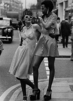 Models at the opening of the shop Mr Freedom on King's Road, London, 1973