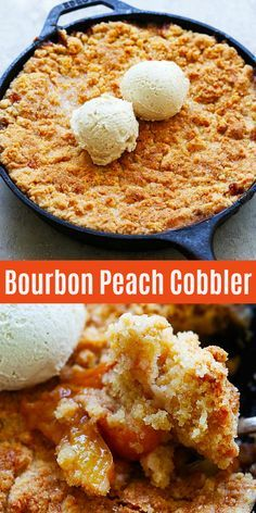 Peach cobbler filled with bourbon peach and topped with buttery and crumbly pie crust dough. This peach cobbler recipe is so easy and a summertime staple! Köstliche Desserts, Delicious Desserts, Dessert Recipes, Yummy Food, Recipes Dinner, Plated Desserts, Summer Desserts, Timmy Time, Bourbon Recipes