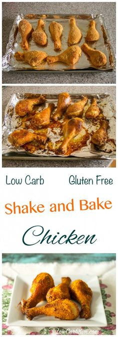 This simple oven fried shake and bake chicken recipe is gluten free and low carb. The preparation time is less than five minutes and clean up is a breeze.
