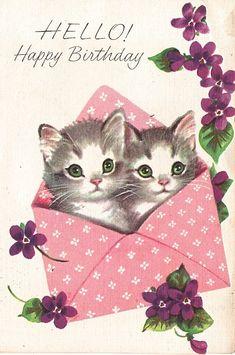 Marjorie Cooper Carte d'anniversaire avec chatons : typique des années 60