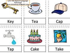 Let's Talk Speech-Language Pathology: Minimal Pairs Game For /t/ and /k/. Pinned by SOS Inc. Resources. Follow all our boards at pinterest.com/sostherapy for therapy resources.