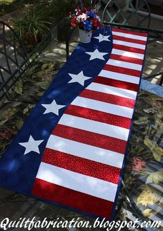 (7) Name: 'Quilting : Patriotic Wave Table Runner