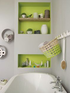 Brighten up a grey colour scheme in the bathroom with a zesty green in alcoves and on shelves. Try pairing Chic Shadow with Luscious Lime.