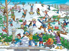 Cobble Hill Snow in the Park 400 Piece Family Puzzle * Continue to the product at the image link. Writing Pictures, Silly Pictures, Picture Writing Prompts, Hidden Pictures, Speech Activities, Language Activities, English Games, Free To Use Images, Theme Noel