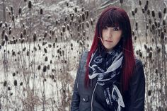 girl,winter,pose,snow,photography,portrait,peircings,skulls,skull,scarf,red hair,red head, ombre