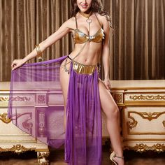 Belly Dance Dress Bra Collar Skirt Dancewear Transaprent Side Slits Cosplay Stage Show Apparel