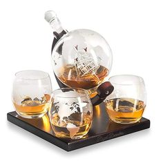Royal Decanters Etched Globe Whiskey Decanter Gift Set- Includes 4 Glasses & Large Glass Beverage Drink Dispenser also for Brandy Tequila Bourbon Scotch Rum -Alcohol Related Gifts for Dad Bar Tools & Glasses Unique Gifts For Men, Gifts For Dad, Unique Presents, Tequila, Vodka, Whisky, Bourbon, Scotch, Rum Alcohol