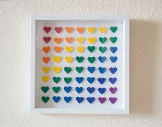 Framed 3D Heart Wall Art in Rainbow Colors