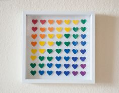Framed 3D Heart Wall Art in Rainbow Colors by HappyLittleGifts, $72.00