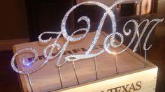 Crystal Monogram Wedding Cake Toppers