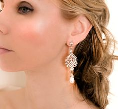 1920s Earrings Bridal Pearl Earrings Pearl by LottieDaDesigns