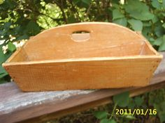 "HandMade Vintage Wooden Silverware/Flatware Utensil TRAY~Handle~13 x 9 x 3.5"" High    $27.99"