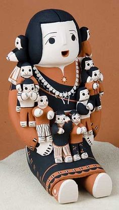 Native American, Pueblo Pottery from Cochiti, the pueblo famous for its storyteller grandfather drummers, figurine pottery.