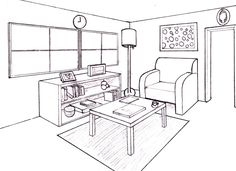Home Design Drawing How To Draw A Room In Perspective 2 Point Perspective Drawing, Perspective Art, Drawing Interior, Interior Design Sketches, Interior Painting, Drawing Furniture, Interiores Design, Designs To Draw, Interior Architecture
