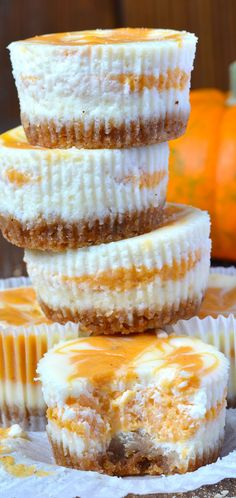 Sweet little autumn treats, perfect as a Thanksgiving recipe - Pumpkin Swirled Cheesecake