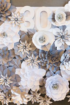 Paper flower backdrop from an Elegant Spring Anniversary Party on Kara's Party Ideas   KarasPartyIdeas.com (10)