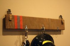 www.Facebook.com/taylor.paints   key/hat/helmet rack made of real fire fighting turnout gear
