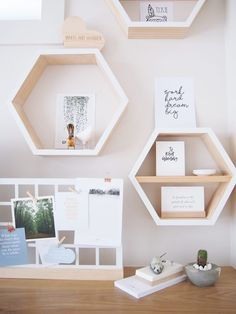 Hexagon wall shelves in the office of White and Wander. Beautiful newly built home with focus on quality craftsmanship. Take the full tour now >>