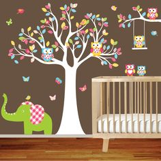 ON SALE Tree Decal Nursery Wall Stickers Colorful Tree Owl Wall Decal Elephant. $125.00, via Etsy.