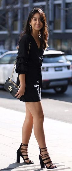 #summer #outfits Black Blouse + Black Leather Skirt