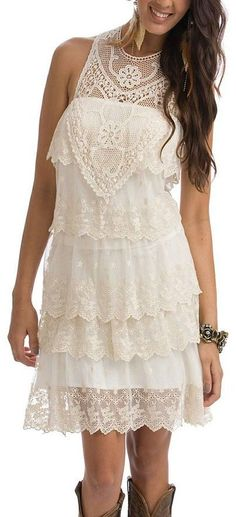 Ivory Lace Boho Dress