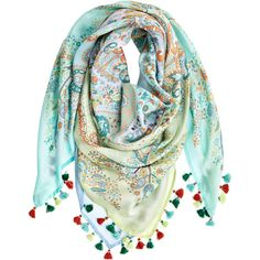 VISMAYA Habutai Paisley Printed Silk Scarf ($175) ❤ liked on Polyvore featuring accessories, scarves, pastel, multi colored scarves, boho scarves, paisley scarves, pure silk scarves and indian shawl