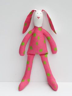 Easter bunny doll stuffed rabbit hare toy bright pink green