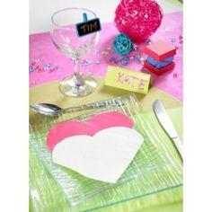 Petite Serviette de table coeur en papier, boite de 20 serviettes coeur blanches, noires, orange, rouge, fuschia, prune, argent, or, chocolat, vert anis, turquoise, rt de table, fêtes.