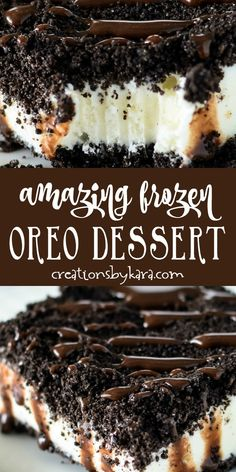 Amazing Frozen Oreo Dessert - everyone loves this frozen dessert, and it is so easy to make! You can use any flavor of ice cream. cream Desserts Amazing Frozen Oreo Dessert - Creations by Kara Oreo Desserts, Cold Desserts, Ice Cream Desserts, Ice Cream Flavors, Mini Desserts, Frozen Desserts, Chocolate Desserts, Easy Desserts To Make, Easy Delicious Desserts