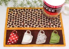 Coffee Mug Rug  Quilted Mug Rug  Coffee Beans by RedNeedleQuilts #mugrug #mugmat #coffee #coffeebeans #cups #brown
