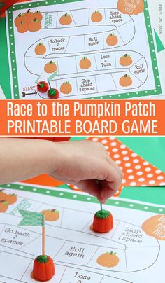 Be the first to make it to the pumpkin patch with this fun free printable board game! Perfect for all ages, this pumpkin themed board game is perfect for Fall parties, pumpkin preschool theme, Halloween games, and so much more! Fall Preschool Activities, Preschool Art Projects, Halloween Preschool Activities, October Preschool Themes, Preschool Theme Fall, Halloween Games For Preschoolers, Teaching Activities, Learning Games, Preschool Learning